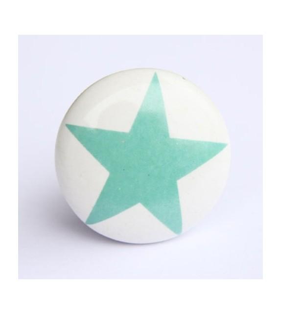 Bouton de meuble impression étoile en porcelaine - Boutons Mandarine