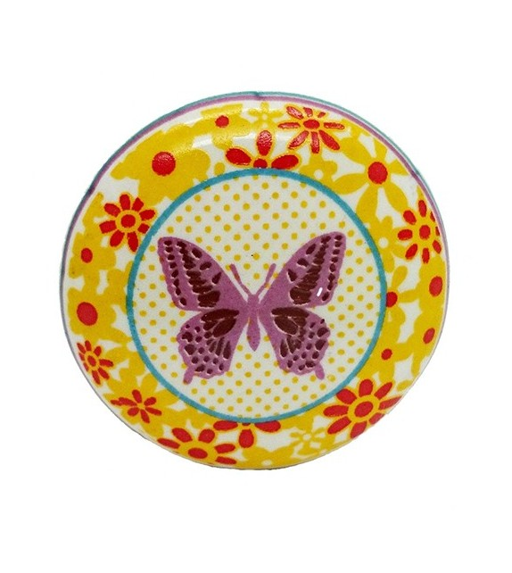 Bouton de meuble Papillon rose en porcelaine