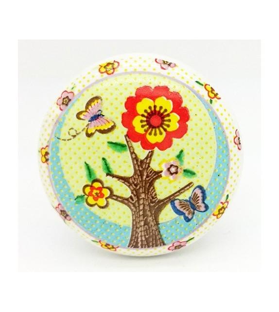 Bouton de meuble enfant Arbre en fleur en porcelaine