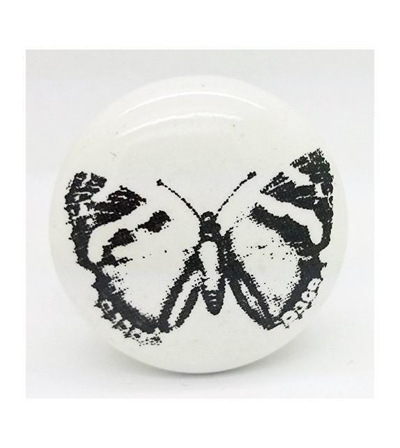 Bouton de meuble Papillon noir et porcelaine blanche