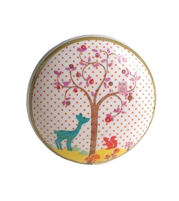 Bouton de meuble Enchanté - Petit Cerf en porcelaine - Boutons Mandarine