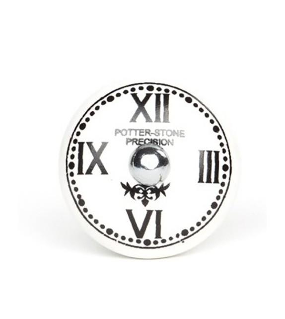 Bouton de meuble Horloge chiffre romain en porcelaine