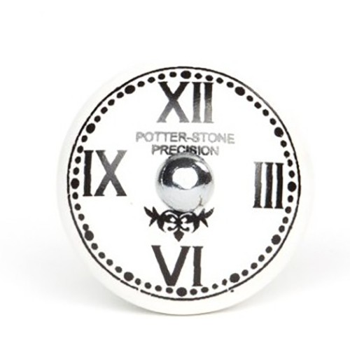 bouton de meuble horloge chiffre romain en porcelaine boutons. Black Bedroom Furniture Sets. Home Design Ideas