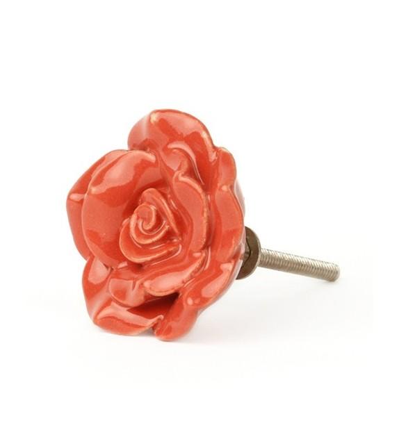 Bouton de meuble Rose rouge ouverte en porcelaine - Boutons Mandarine