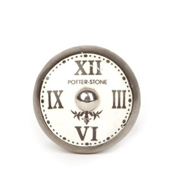 Bouton de meuble Horloge chiffre romain en porcelaine - Boutons Mandarine
