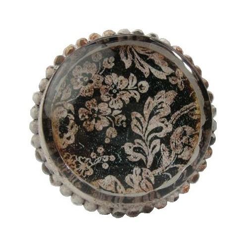 Bouton de meuble antoinette avec cabochon de verre for Meuble avec porte en verre
