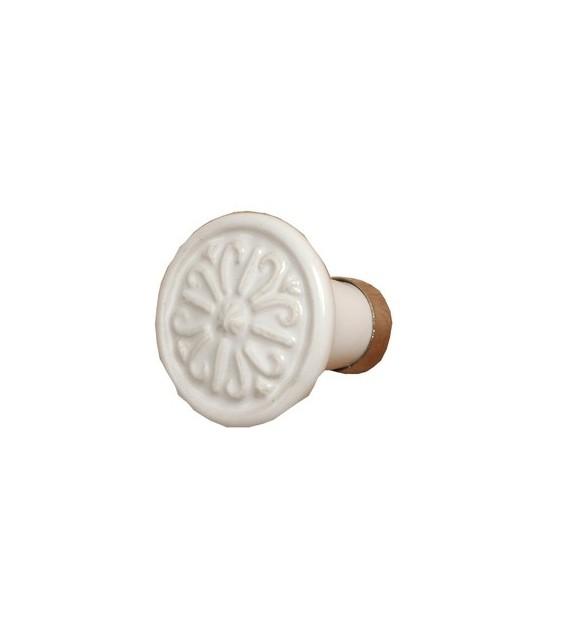Bouton de porte Villa, rond en céramique blanche - Boutons Mandarine