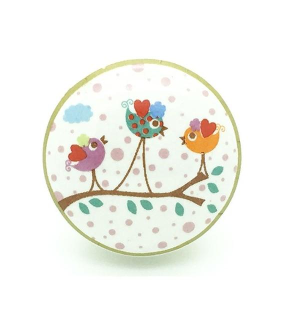 Bouton de meuble Enchanté - Petits Oiseaux en porcelaine
