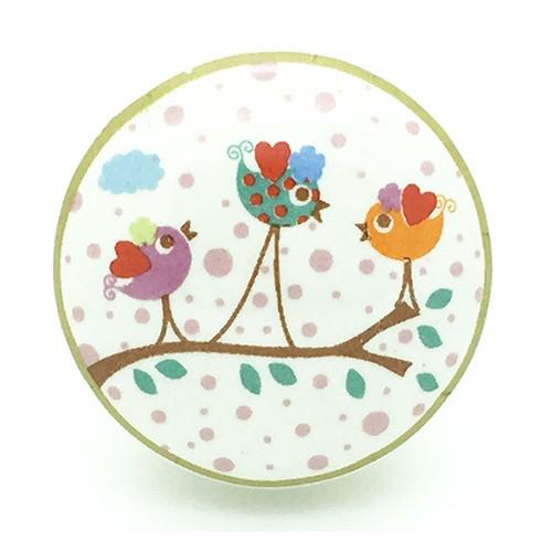 bouton de meuble enchant petits oiseaux en porcelaine. Black Bedroom Furniture Sets. Home Design Ideas