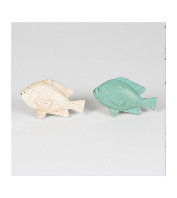 Bouton de meuble Duo de Poisson bleu et beige - Boutons Mandarine