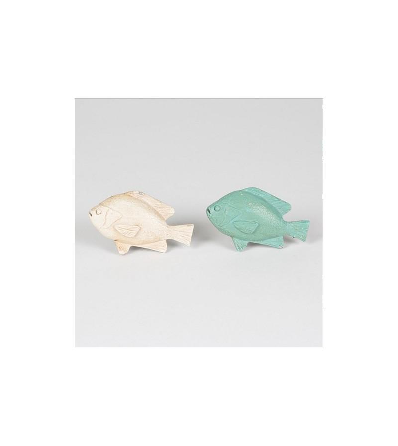 Bouton de meuble duo de poisson bleu et beige boutons for Meuble poisson