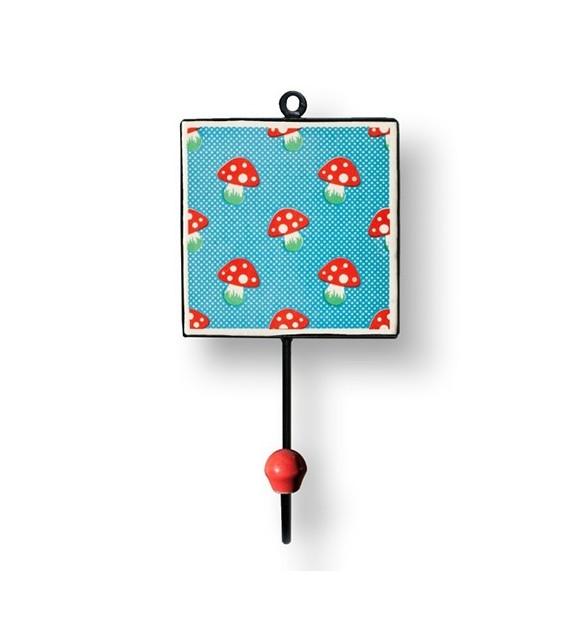 Patère murale carrée Champignon rouge à pois - Boutons Mandarine