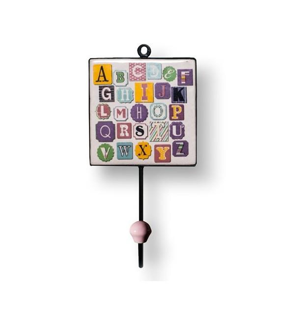 Patère murale carrée Alphabet - Boutons Mandarine