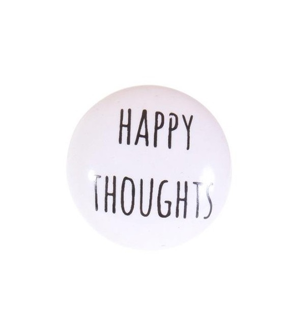 "Bouton de meuble Message "" Happy Thoughts "" en porcelaine"