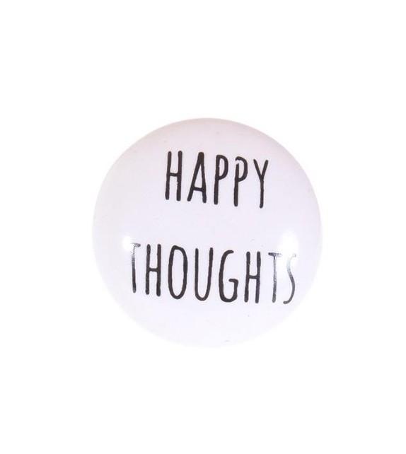"""Bouton de meuble Message \\"""" Happy Thoughts \\"""" en porcelaine - Boutons Mandarine"""