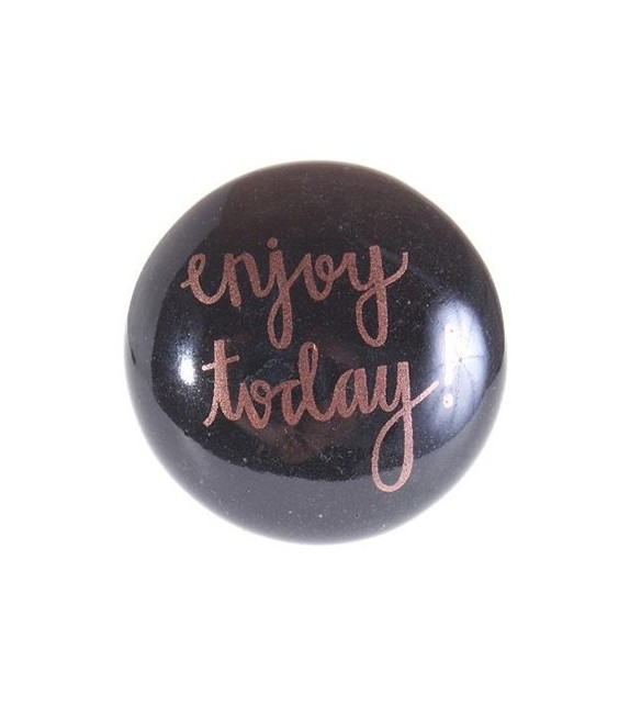 "Bouton de meuble Message "" Enjoy Today "" en porcelaine"