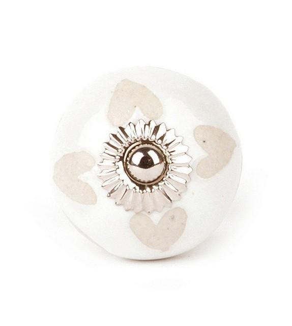 Bouton de meuble en porcelaine Pétale Coeur - Boutons Mandarine