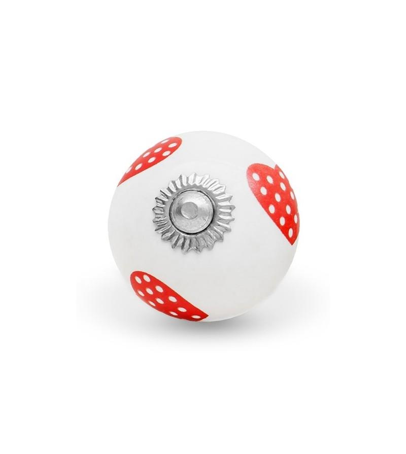 bouton de meuble motif coeur pois en porcelaine boutons. Black Bedroom Furniture Sets. Home Design Ideas