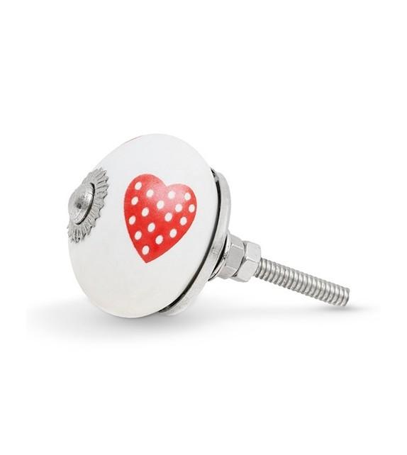 Bouton de meuble motif Coeur à pois en porcelaine