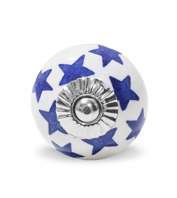 Bouton de meuble motif Etoile colorée en porcelaine blanche