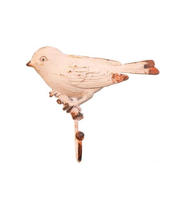 Patère murale L'oiseau sur une branche - 1 crochet - Boutons Mandarine