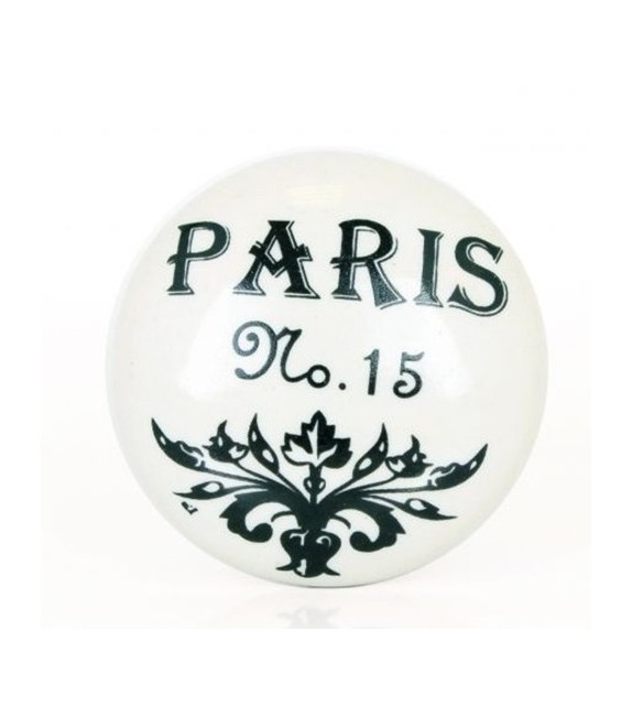 Bouton de meuble Paris n°15 en porcelaine