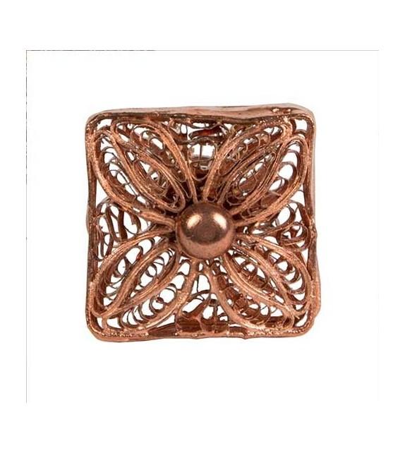 Bouton de meuble en cuivre motif fleur