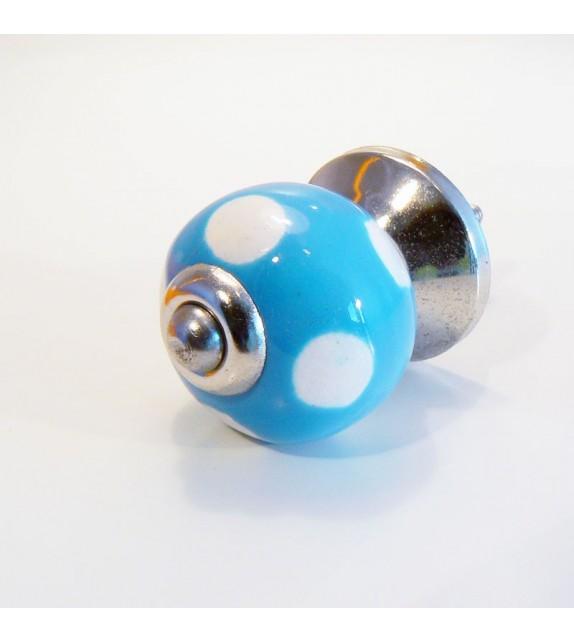 Bouton de porte Lola, céramique bleue à pois blancs - 3 cm - Boutons Mandarine