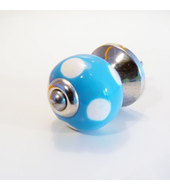 Bouton de porte Lola, céramique bleue à pois blancs - 3 cm