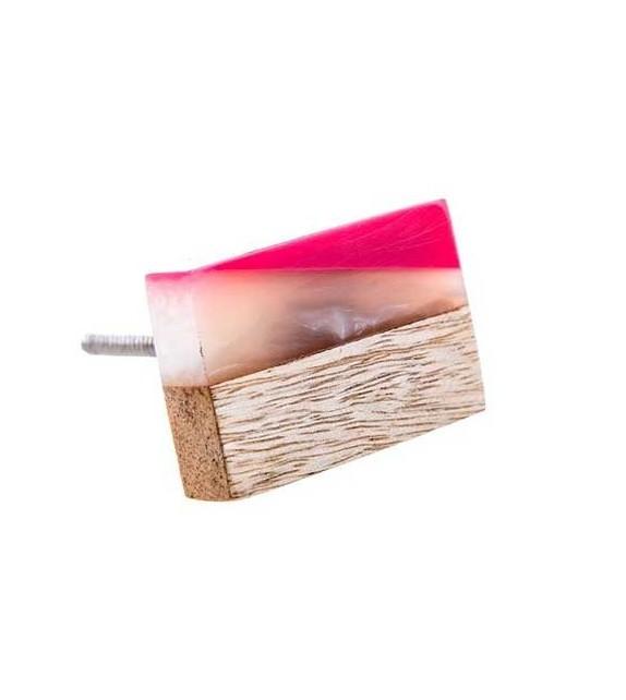 Bouton de meuble à facettes bois et résine - Boutons Mandarine
