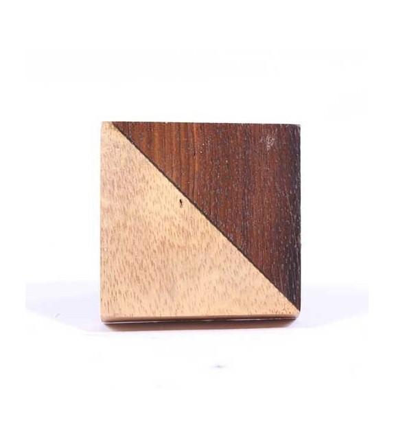 Bouton de meuble carré bi-couleurs en bois