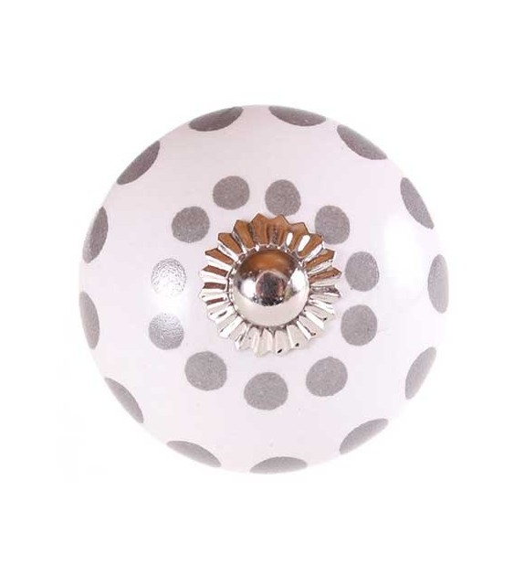 Bouton de meuble Factory en porcelaine à pois - Boutons Mandarine