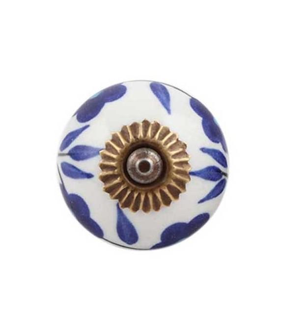 Bouton de meuble motif floral en porcelaine