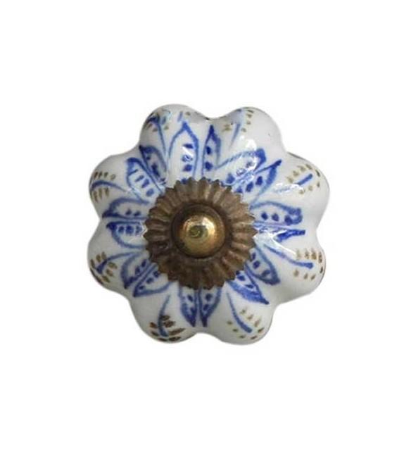 Bouton de meuble citrouille Lotus en porcelaine