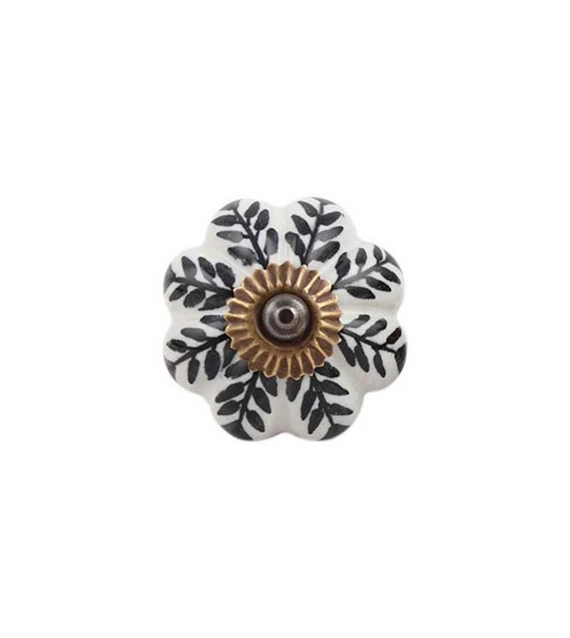Bouton de porte citrouille feuilles noires en porcelaine for Bouton en porcelaine pour meuble