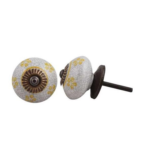 Bouton de meuble Petites Fleurs en porcelaine craquelée