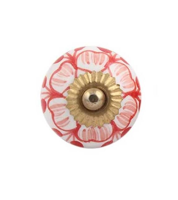 Bouton de meuble Fleur Nina en porcelaine