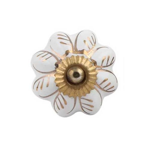 Bouton de meuble Citrouille motif Or en porcelaine - Boutons Mandarine