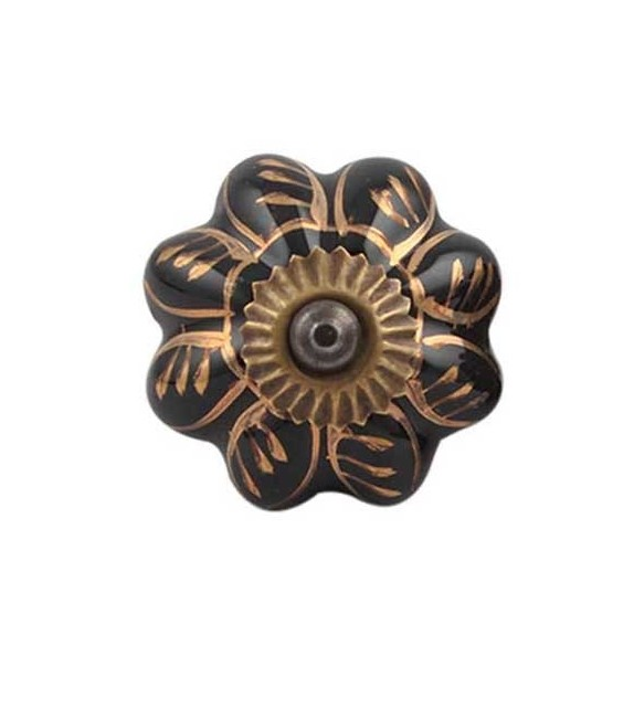 Bouton de meuble Citrouille motif Or en porcelaine