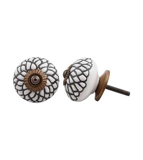 Bouton de meuble Rosace en porcelaine - Boutons Mandarine
