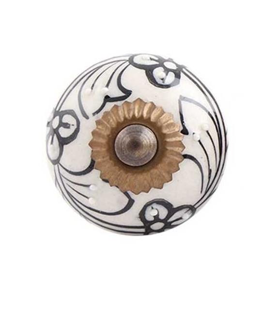 Bouton de meuble Noir et Blanc motif floral en porcelaine