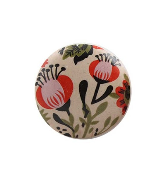 Bouton de meuble Fleur vintage orange en porcelaine