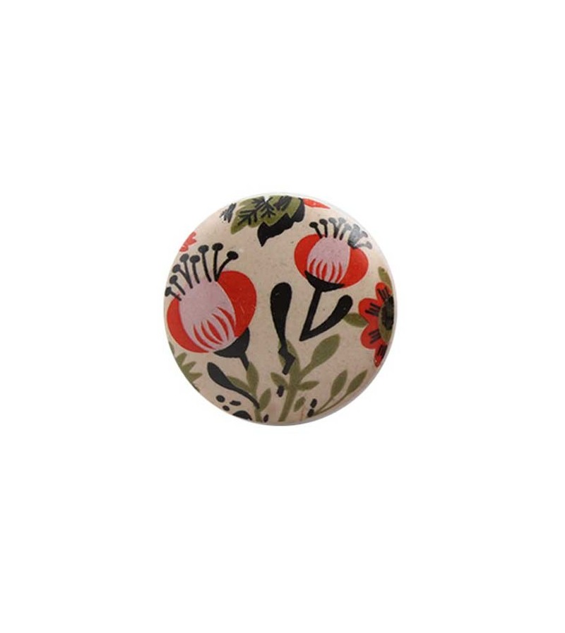 bouton de meuble fleur vintage orange en porcelaine. Black Bedroom Furniture Sets. Home Design Ideas