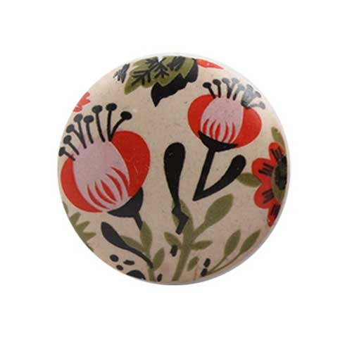 avis bouton de meuble fleur vintage orange en porcelaine. Black Bedroom Furniture Sets. Home Design Ideas