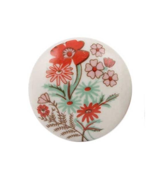 Bouton de meuble Fleur vintage rouge en porcelaine