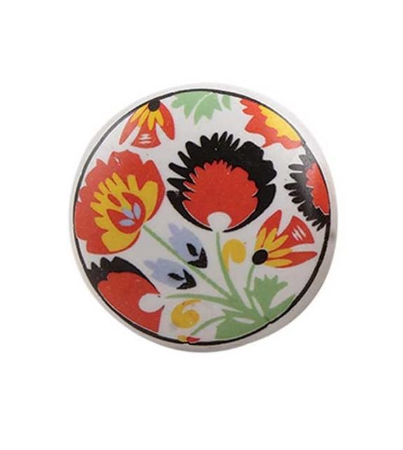 Bouton de meuble Fleur Paon vintage en porcelaine