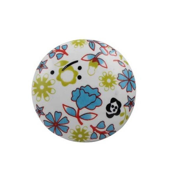 Bouton de meuble Paquerette en porcelaine - Boutons Mandarine