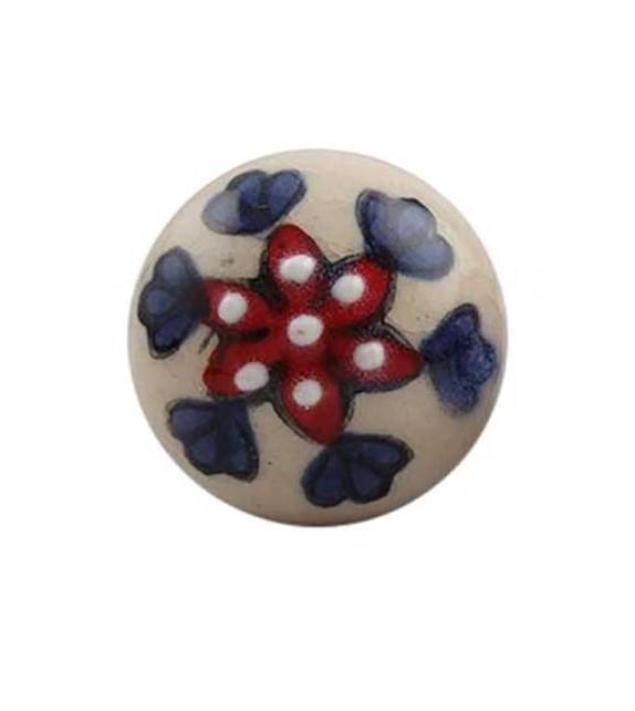Bouton de meuble Indien Floral Petunia en porcelaine - Boutons Mandarine