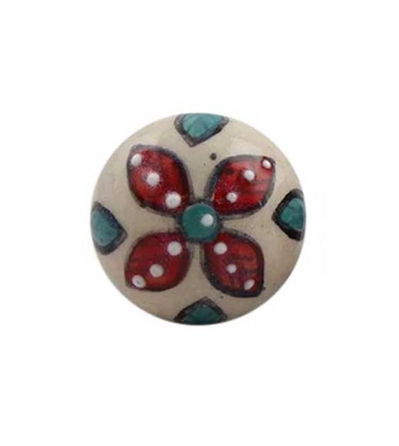 Bouton de meuble Indien Floral Iris en porcelaine