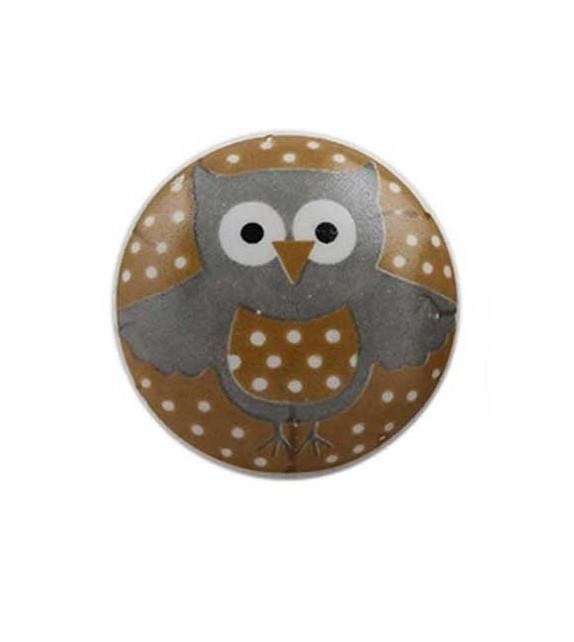 Bouton de meuble Hibou à pois enfant en porcelaine - Boutons Mandarine